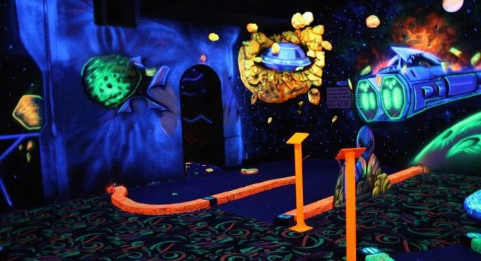 Blacklight Mini-Golf at LazerPort Fun Center