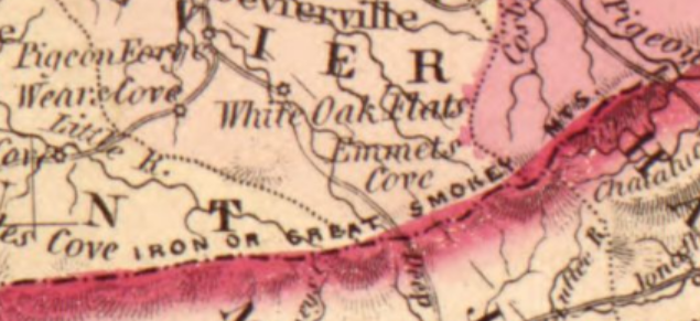 Antique Map showing White Oak Flats - Now known as Gatlinburg
